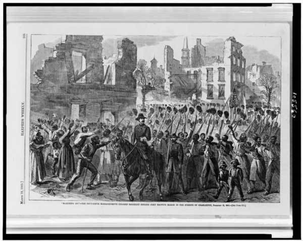 "A wood engraving of the 55th Massachusetts Regiment singing the abolitionist song ""John Brown's Body"" as it marched into Char"